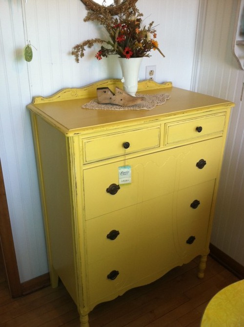 yellow dresser after