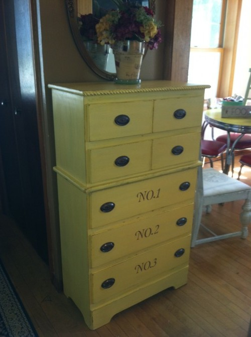Yellow Dresser with numbers!