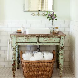 Painted green table turned into vanity